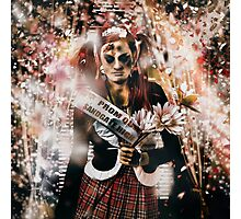 Crowned horror prom queen celebrating dead reunion Photographic Print