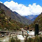 Start of the Hiking Trail - Km 82 Inca Trail - Suspension Bridge by Honor Kyne