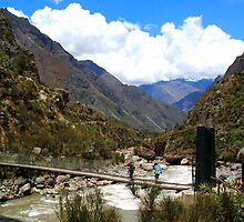 Start of the Hiking Trail - Km 82 Inca Trail - Suspension Bridge by Honor Kyne