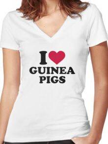 I love Guinea pigs Women's Fitted V-Neck T-Shirt