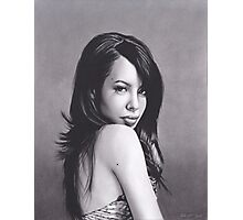Realism Charcoal Drawing of Aaliyah Photographic Print