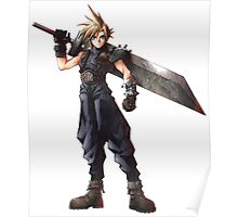 Final Fantasy 7 - FF7 - FFVII - Cloud, with buster sword. Poster
