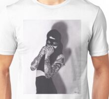 Realism Charcoal Drawing of Girl in Cat Mask with Tattoos Unisex T-Shirt