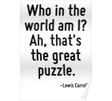 Who in the world am I? Ah, that's the great puzzle. Poster