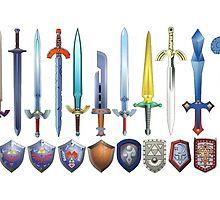 The Legend of Zelda, swords and shields by endgameendeavor