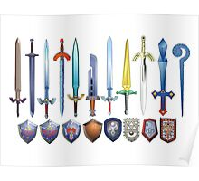 The Legend of Zelda, swords and shields Poster