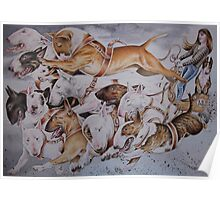 BULLIE CART Watercolour of Bull Terriers Pulling a Cart! Poster