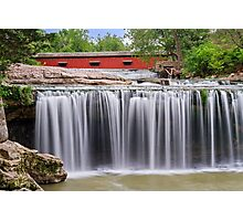 Waterfall and Red Covered Bridge Photographic Print