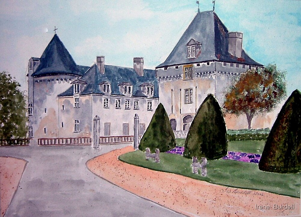 Watercolour                      Chateau  du Mung  by Irene  Burdell