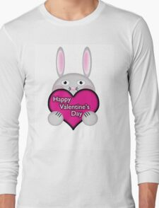 Cute Bunny with Pink Valentine's Day Heart Wishes Long Sleeve T-Shirt