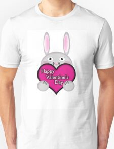Cute Bunny with Pink Valentine's Day Heart Wishes T-Shirt