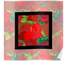Red roses pattern Poster