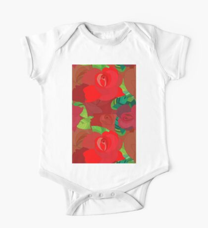 Red roses pattern One Piece - Short Sleeve