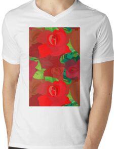 Red roses pattern Mens V-Neck T-Shirt