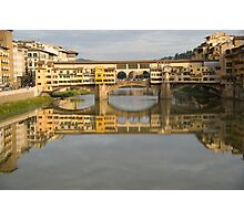 Ponte Vecchio reflection on the Arno river Florence Italy Photographic Print