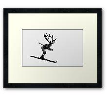 Ski Stag Skier Vintage Framed Print