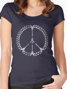 peace love rock'n'roll | white ink edition Women's Fitted Scoop T-Shirt