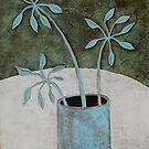 Three blue leaves by natasa sears