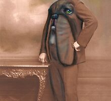 Repainted Vintage Photo in Oils - Dog Face by KingVitaman