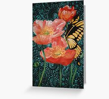 Butterfly with Poppies Greeting Card