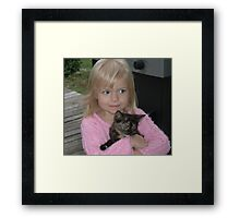 Abby and our New Kitty Cali Framed Print