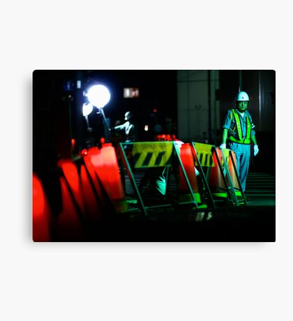 The man who waves the flashing stick; Ginza, Tokyo Canvas Print