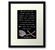 Halo - Two Sticks and a Rock Framed Print