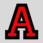 Letter A two color red by theshirtshops