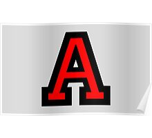 Letter A two color red Poster