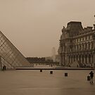 Louvre Courtyard in Rain by APhillips