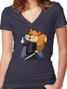 Slow motion squirrel Women's Fitted V-Neck T-Shirt