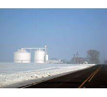 Chilly Silos in the Snow Photographic Print