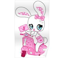 Glamorous cute bunny on a pink scooter with valentines Poster