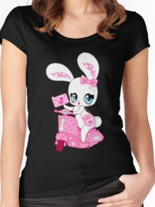 Glamorous cute bunny on a pink scooter with valentines Women's Fitted Scoop T-Shirt