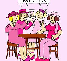 Breast Cancer Supporters Invitation, ladies in pink. by KateTaylor
