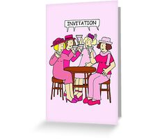 Breast Cancer Supporters Invitation, ladies in pink. Greeting Card