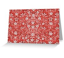 Flowers Pattern Collage in Coral and White Colors Greeting Card