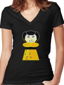 Cute 'lil Yellow Geisha Women's Fitted V-Neck T-Shirt
