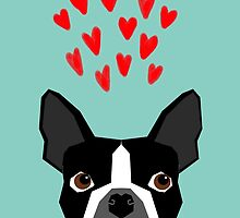 Boston Terrier - Hearts, Cute Funny Dog Cute Valentines Dog, Pet, Cute, Animal, Dog Love,  by PetFriendly