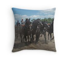 Black Percheron Eight Horse Hitch Throw Pillow