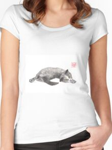 Dreamer kitten sumi-e painting Women's Fitted Scoop T-Shirt