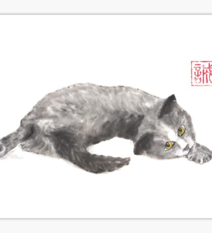 Dreamer kitten sumi-e painting Sticker