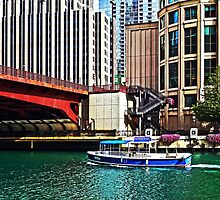 Chicago IL - Water Taxi by Columbus Drive Bridge by Susan Savad