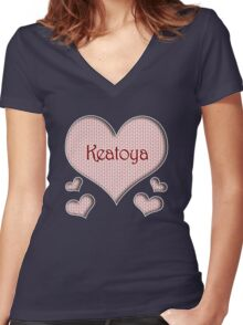 Keatoya Happy Valentines Day Women's Fitted V-Neck T-Shirt