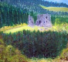 Elibank Castle, Tweed Valley below Walkerburn  by BillCowe
