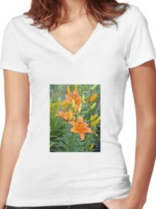 Orange Lily 5 Women's Fitted V-Neck T-Shirt