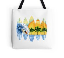 Surfer And Surfboards Tote Bag