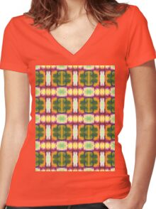 colorful blocks Women's Fitted V-Neck T-Shirt