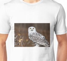 Snowy Owl with Autumn Foliage Unisex T-Shirt