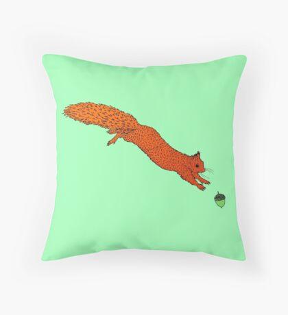Red Squirrel Acorn Jump Throw Pillow